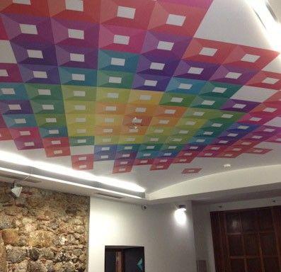 Gráfica a techo vinilo impreso, laminado e instalado