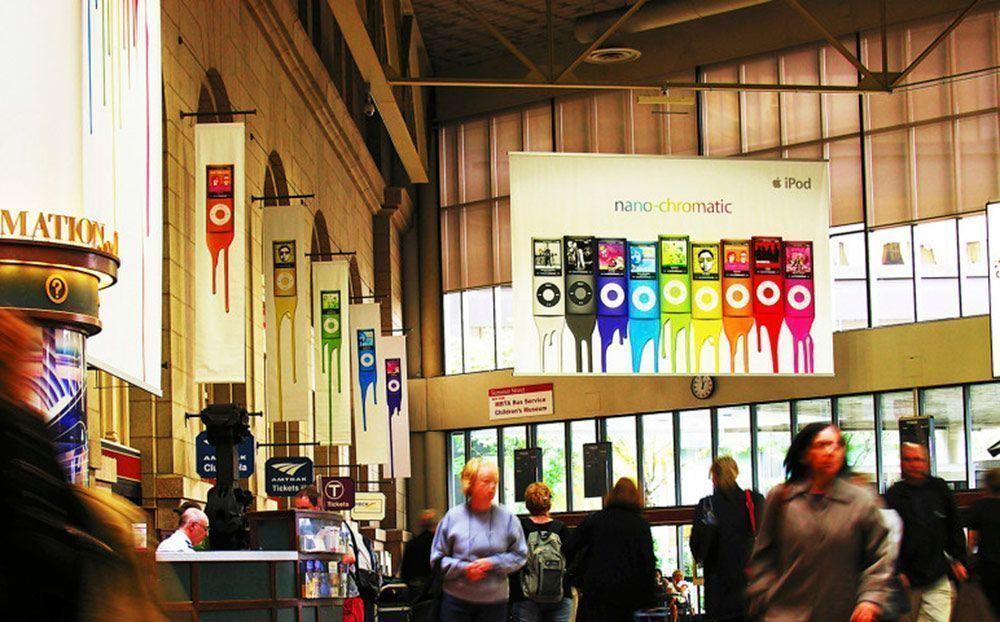 Elemento gráfico aéreo para exposiciones y eventos