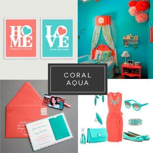 Coral y turquesa Impresión digital Comunciación visual