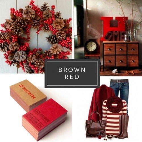 Marrón y rojo Moda Branding Impresión digital