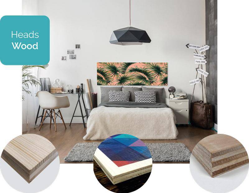 Madera impresa Cabecera Impresión digital madera