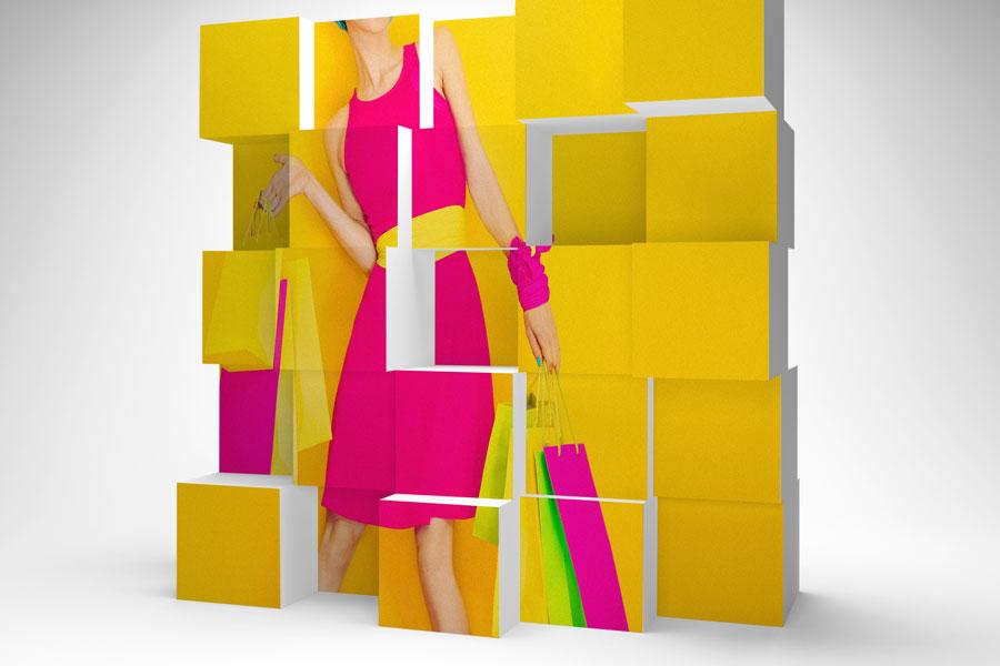 Cubos cartón impreso Vinilos easy dot gran formato
