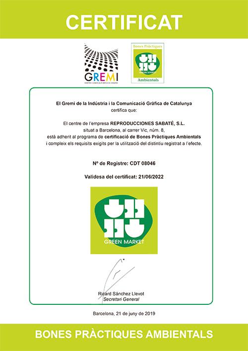 Green print Impresión ecológica Certificado
