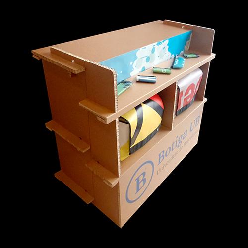Mostrador expositor cartón nido de abeja kraft