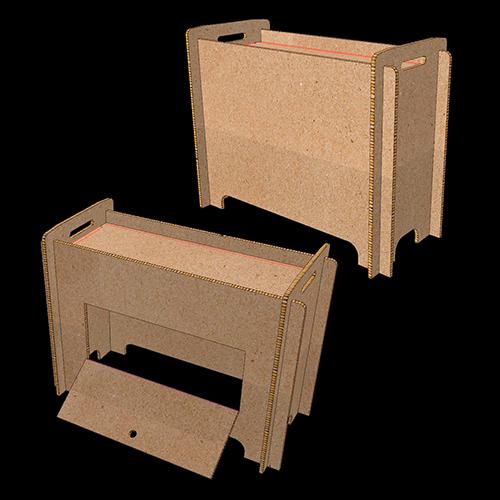 Mostrador almacén cartón nido de abeja kraft